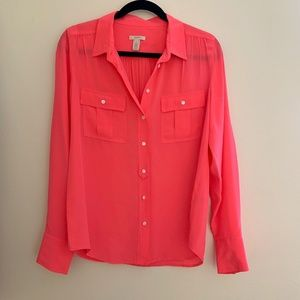J Crew NWOT Pink Silk Button Down Blouse